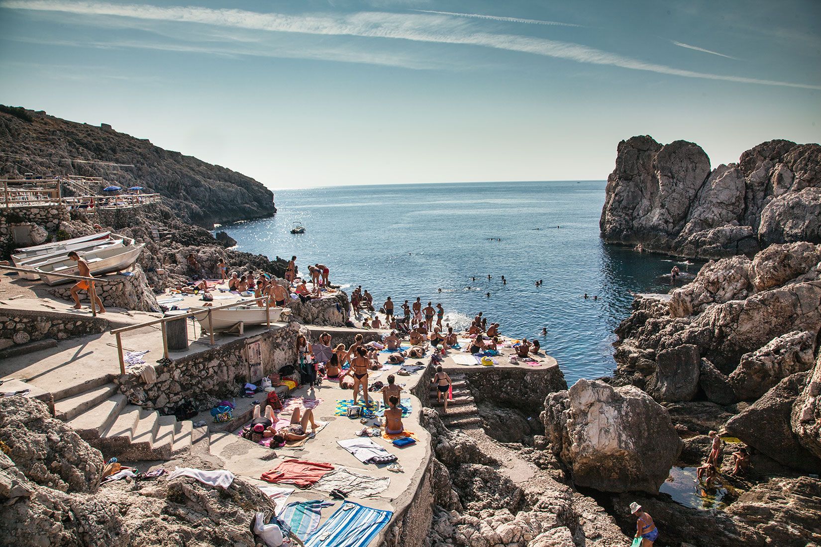 Hidden beach for locals on the island of Capri. Italy