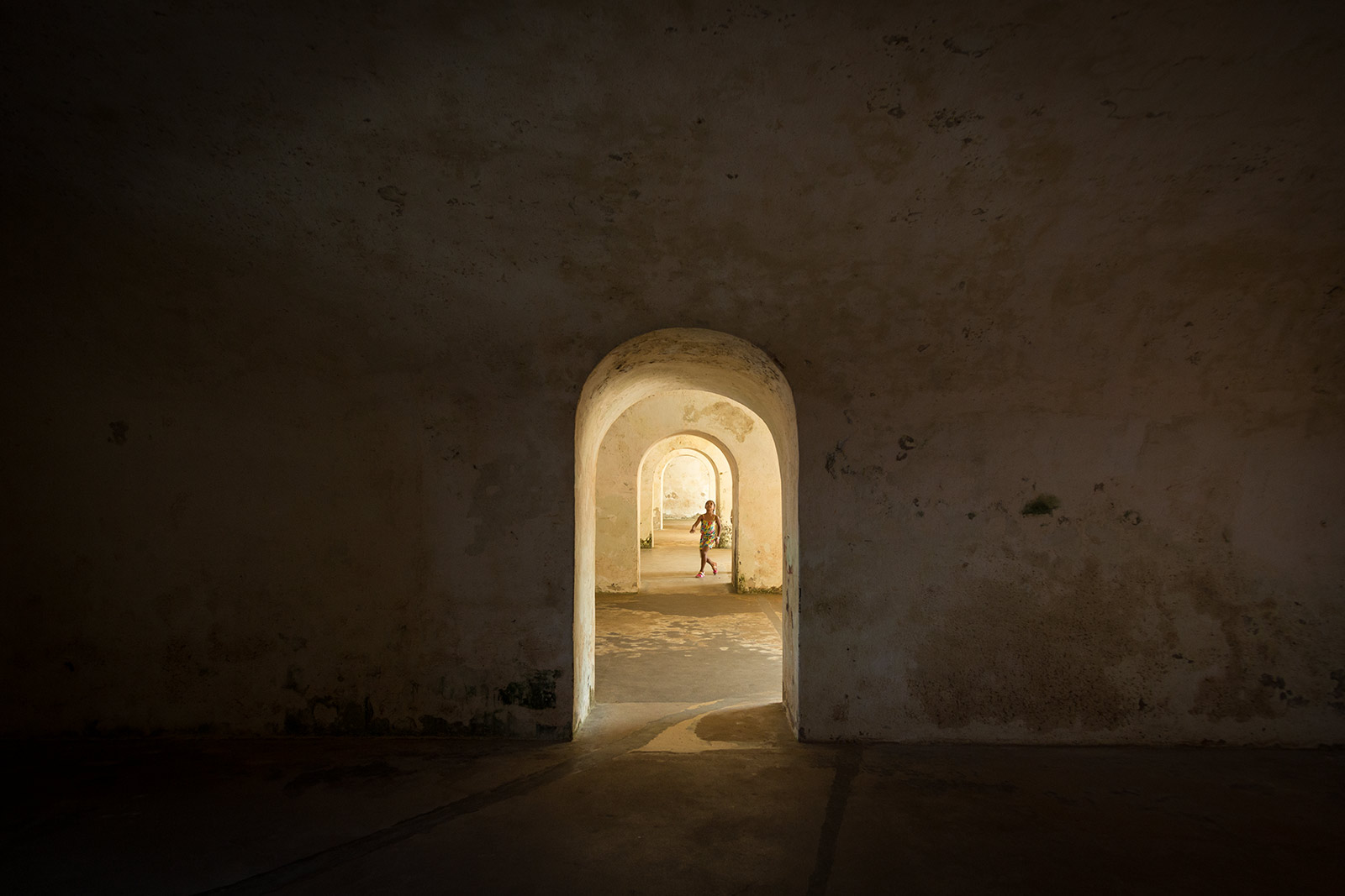 Inside El Morro in San Juan Puerto Rico. A little girl