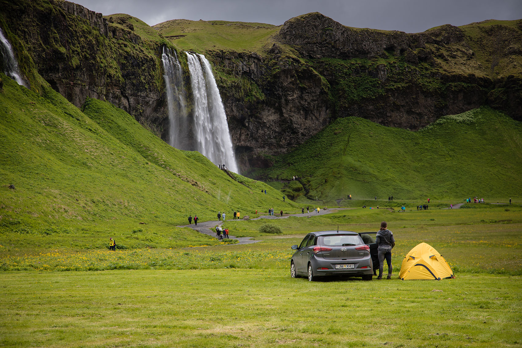 Iceland Camping at Seljalandfoss  Waterfall