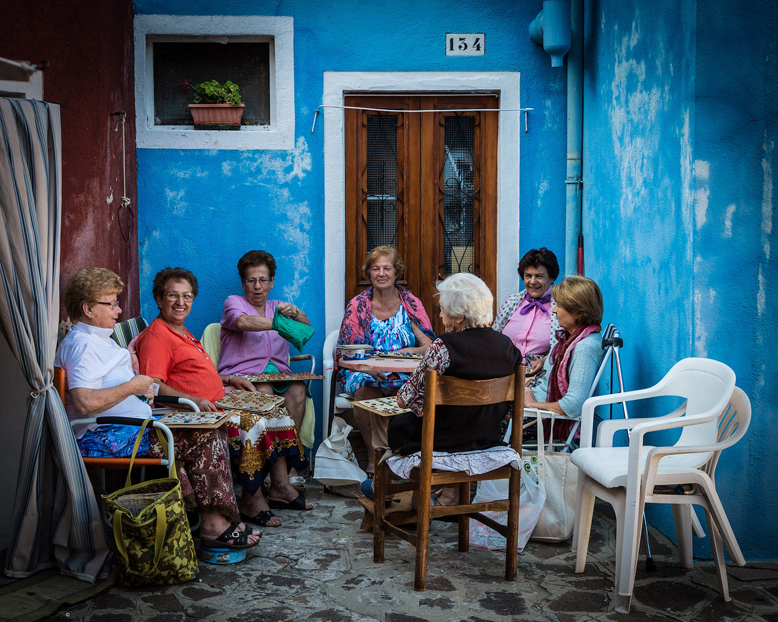 "Local ladies playing ""tombola"" in Murano Island"