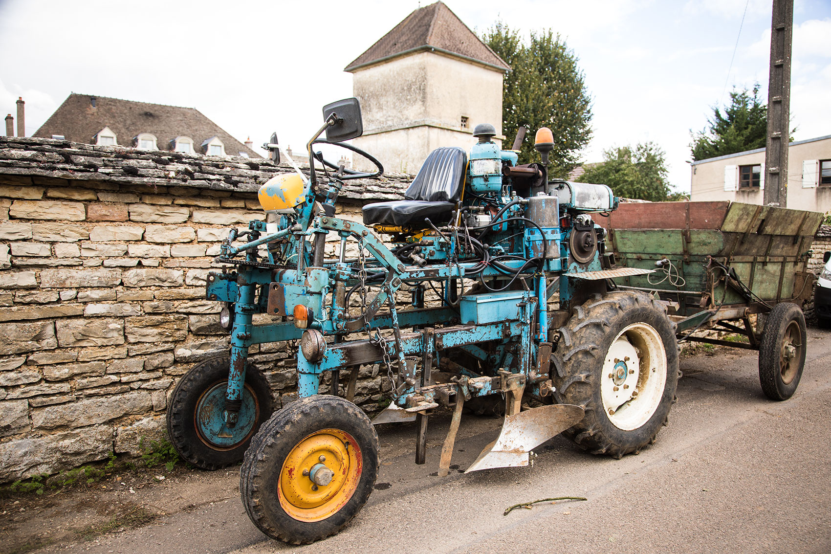 Tractor for Harvest in Burgundy