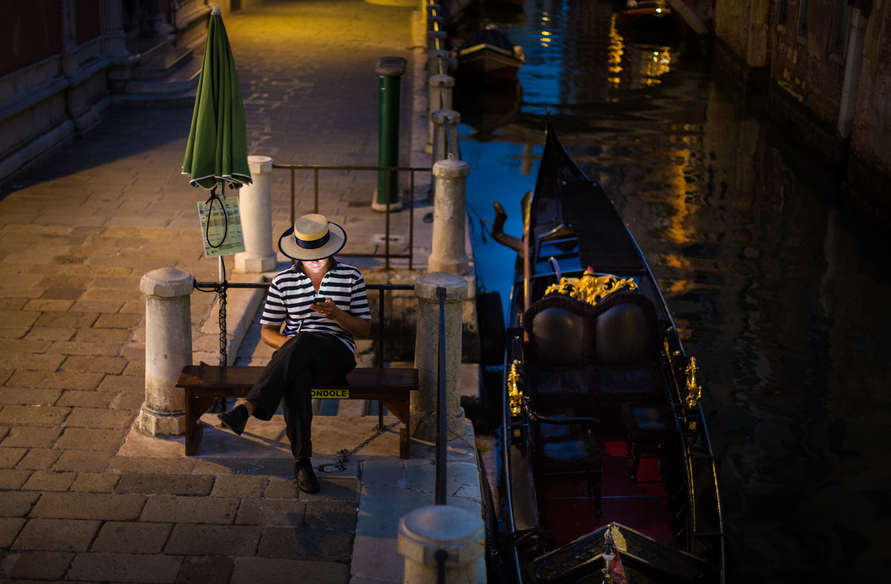 Venezia. Gondoliere at the end of the day. Ready to go home. Rocco Ceselin Travel Photography